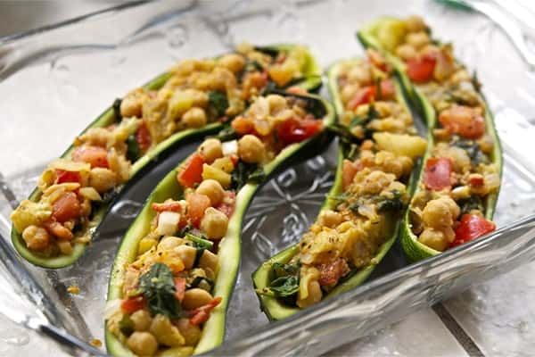 Vegan Stuffed Zucchini Boats With Dairy-Free Parmesan