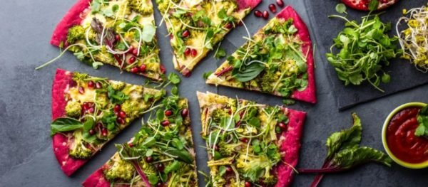 Vegan Recipes - Beetroot Dough, Vegetables and Sprouis Pizza, Healthy Fast Foods